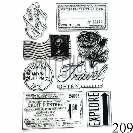 """Штампы для скрапбукинга (силиконовые штампы), набор """"Bon Voyage"""", 15 х 20.5 см."""