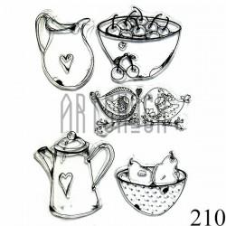 """Штампы для скрапбукинга (силиконовые штампы), набор """"Любимая посуда"""", 15 х 20.5 см."""