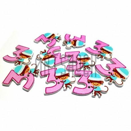 """Набор деревянных декоративных пуговиц белых """"Цифра 3"""", 2.6 x 3 см., 10 штук, REGINA"""