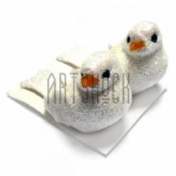 Набор декоративных птичек - голубей с блестками для декора, белых, 3 x 5 см., 2 штуки, REGINA