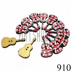 """Набор деревянных декоративных пуговиц """"Гитара Британский флаг"""", 1.6 x 3.5 см., 12 штук, REGINA"""