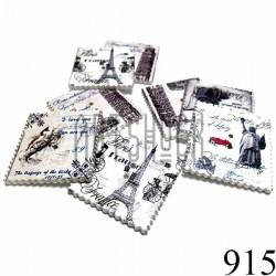 """Набор деревянных декоративных пуговиц белых """"Города и птицы"""", 3 x 3.3 см., 8 штук, REGINA"""
