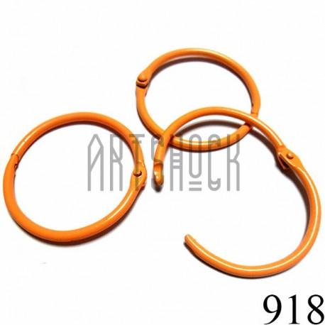 Набор колец металлических оранжевых для переплета (скрапбукинга), разъёмных, Ø4.2 см., 3 штуки, REGINA