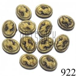 """Набор декоративных овальных камей - """"Дама коричневая в патине"""", 8 - 10 мм., 12 штук, REGINA"""