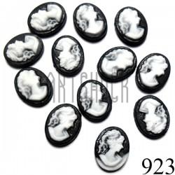 """Набор декоративных овальных камей - """"Дама белая на черном"""", 8 - 10 мм., 12 штук, REGINA"""