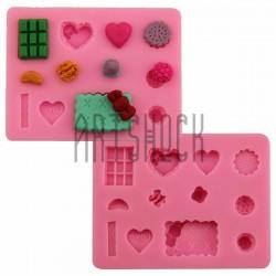 Силиконовый молд 3D (вайнер), Вафли, конфеты, размер 9.5 x 7.3 см., толщина 1.3 см., REGINA