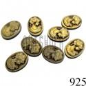 """Набор декоративных овальных камей - """"Дама коричневая в патине"""", 13 - 18 мм., 8 штук, REGINA"""