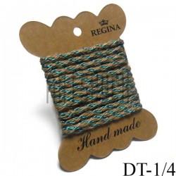 Джутовая тесьма, плетеная натуральная с переплетенной зеленой нитью, ширина - 0.4 см., толщина - 2 мм., длина - 1.5 м., REGINA