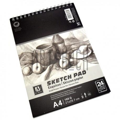 Альбом для эскизов на спирали SKETCH PAD, 210 x 297 мм., 24 листа, Art Nation