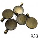 """Набор металлических основ для камеи (кабошона, броши) с сеттингом, """"античная латунь"""", Ø2.1 см., 5 штук, REGINA"""