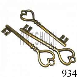 """Набор металлических подвесок винтажных """"Ключи"""", """"античная латунь"""" для скрапбукинга, 11.2 x 3 см., 3 штуки, REGINA"""