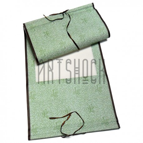 Свиток для китайской каллиграфии и живописи с рисовой бумагой, зеленая птица, р-р: 39.5 x 108 см.