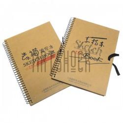 Блокнот - альбом (скетчбук) для эскизов на спирали SKETCH BOOK с завязками, 190 x 262 мм.