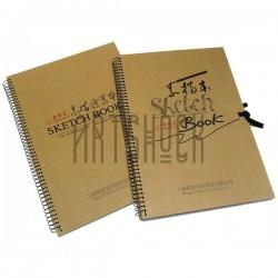 Блокнот - альбом (скетчбук) для эскизов на спирали SKETCH BOOK с завязками, 262 x 377 мм.