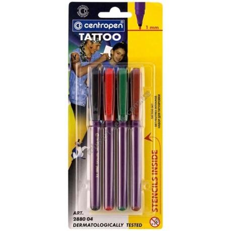 Набор маркеров TATTOO, 4 цвета + трафарет, Centropen, 1 мм., арт.: 2880 для создания татуировок купить в Киеве