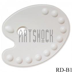 Палитра пластиковая овальная с ячейками, 35 x 28 см., Maries
