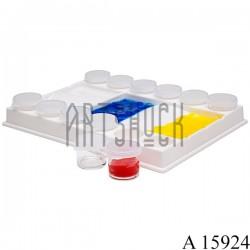 Палитра пластиковая с баночками, 20.4 х 15.5 х 3 см., CONDA
