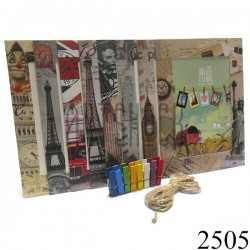 """Набор фоторамок на бечевке (бумажные рамки для фото с прищепками), """"Путешествия"""", 8 штук"""