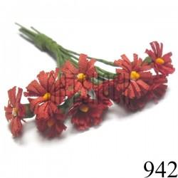 Набор декоративных ромашек из ткани на проволоке, морковные, Ø15 мм., 10 штук, REGINA