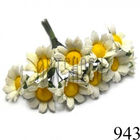 Набор декоративных ромашек из ткани на проволоке, белые с желтой сердцевиной, Ø20 - 22 мм., 10 штук, REGINA