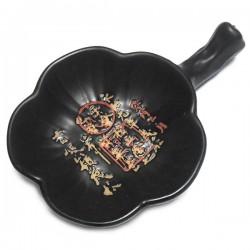 Фарфоровое блюдце - подставка для кисти из черной керамики