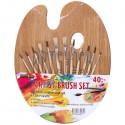 Набор художественных кистей для рисования, 12 шт. + деревянная палитра, Dollar Store