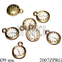 """Металлическая подвеска """"Золотые часы"""" для скрапбукинга, Ø9 мм."""