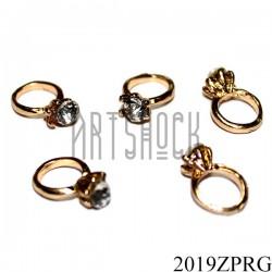 """Металлическая подвеска """"Золотое кольцо с камнем"""" для скрапбукинга и украшения, Ø7 мм."""