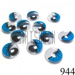 Набор голубых глазок с ресницами и бегающим (подвижным) зрачком для игрушек и кукол, Ø1.2 cм., 12 штук купить в Киеве и Украине