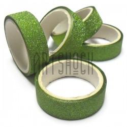 Скотч декоративный бумажный с глиттером, зеленый, 15 мм., 3 метра