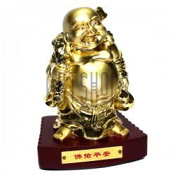 """Сувенир """"Хотей золотой с мешком за спиной"""" на подставке, 10 см."""