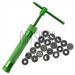 Экструдер винтовой для полимерной глины и мастики с 20 насадками, Metal clay Extruder