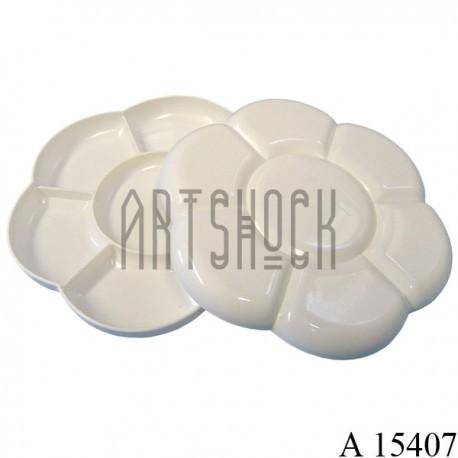 Палитра пластиковая для рисования, 14 ячеек, в форме цветка, 2 части, закрывающаяся, Ø17 см., CONDA купить в Украине
