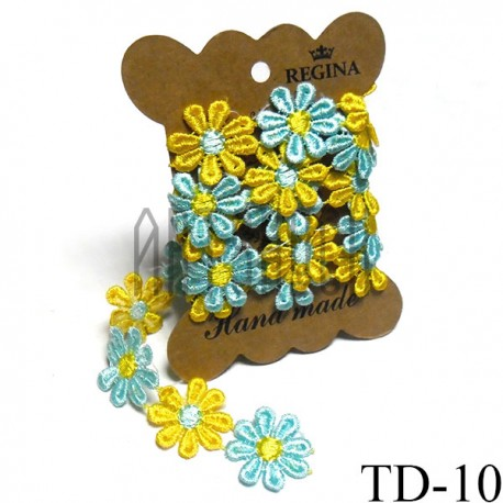 Тесьма декоративная Ромашка желто - голубая, толщина - 2.8 см., длина - 0.8 м., REGINA   Декоративная тесьма в Украине