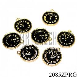 """Металлическая подвеска """"Часы черные"""" для скрапбукинга, Ø14 мм."""