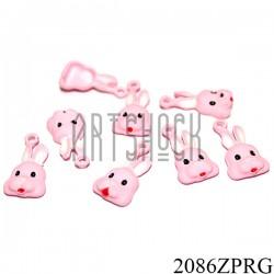 """Металлическая подвеска """"Заяц розовый"""" для скрапбукинга, 20 x 11 мм."""