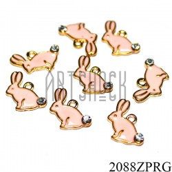 """Металлическая подвеска """"Кролик розовый с камнем"""" для скрапбукинга, 11 x 14 мм."""