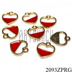 """Металлическая подвеска """"Сердце красное"""" для скрапбукинга, 14 x 15 мм."""
