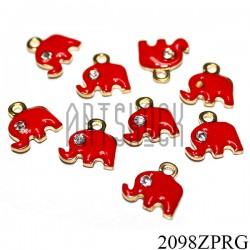 """Металлическая подвеска """"Слон красный с камнем"""" для скрапбукинга, 11 x 11 мм."""