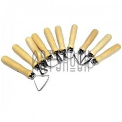 """Набор металлических """"петлевых"""" скульптурных стеков на деревянной ручке, 10 предметов, REGINA"""