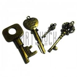 """Набор металлических подвесок, """"Ключи - античная латунь"""" для скрапбукинга, 2.5 - 5.5 см., 4 штуки, REGINA"""