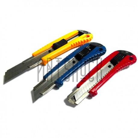 Нож канцелярский офисный 18 мм. с металлической направляющей, XINFA для бумаги, картона и макетирования